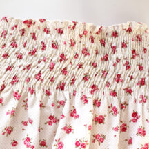 bodice of floral top after shirring has been steamed