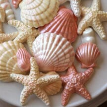 pearlescent peach and white molded candy seashells - starfish, shells, pearls