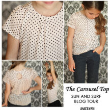 photo collage of girl wearing white shirt with black polka dots