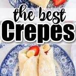 two crepes rolled with bananas and strawberries inside on a blue plate and folded crepes on blue plate
