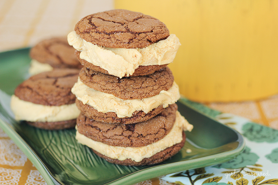Gingerbread Pumpkin Ice Cream Sandwiches - girl. Inspired.