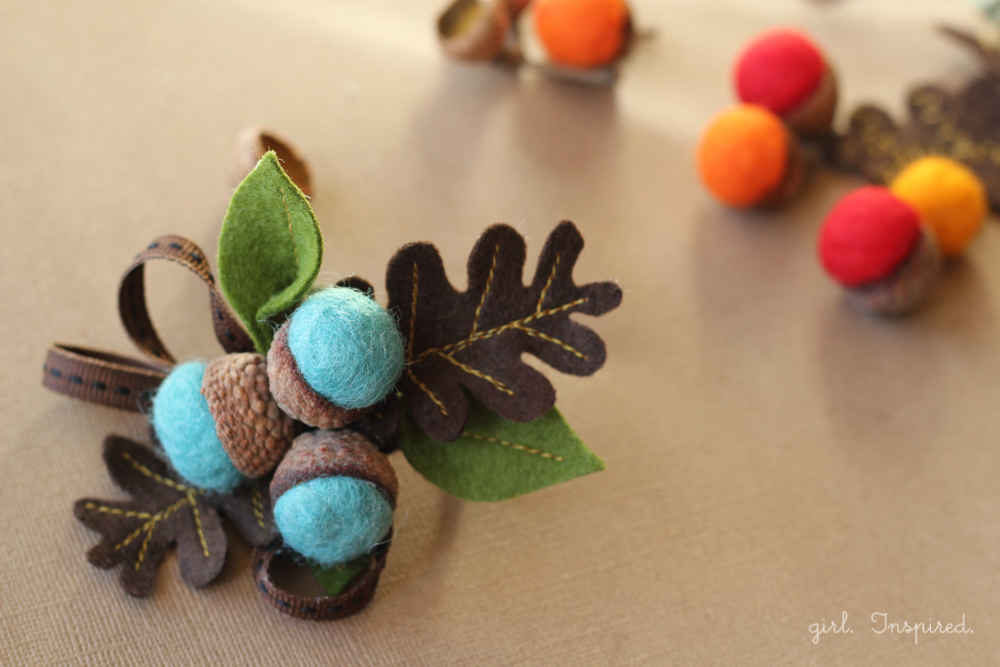 Autumn acorn napkin rings girl inspired for Diy fall napkin rings