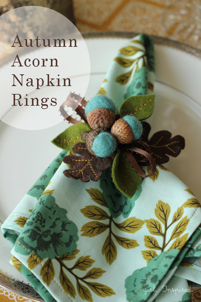 Autumn Acorn Napkin Rings Girl Inspired