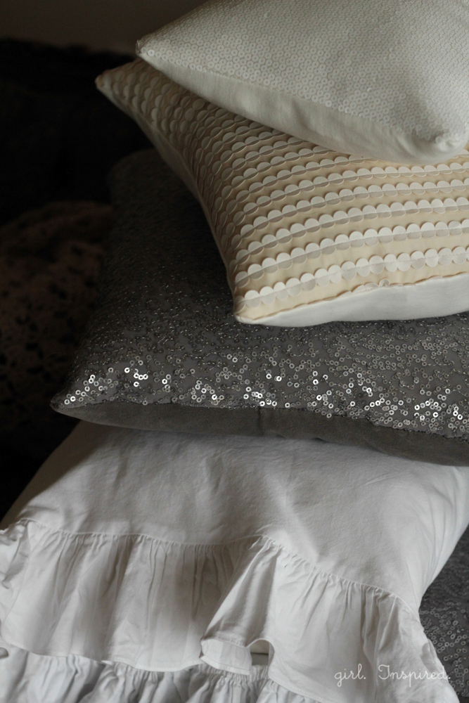 Add some holiday sparkle to your furniture with these Sequin Sofa Pillows!