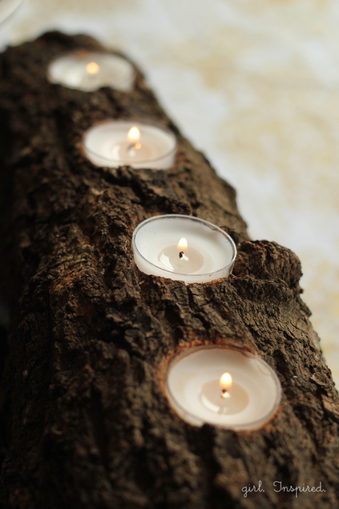 Tealight Log Centerpiece