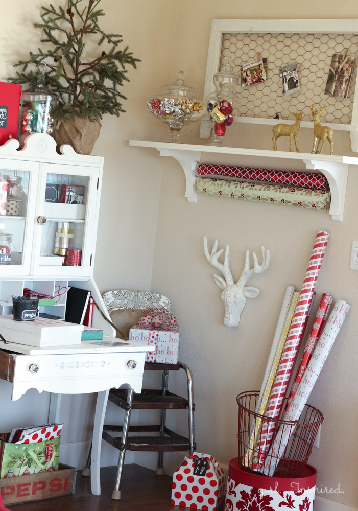 A wrapping and Holiday organization station.