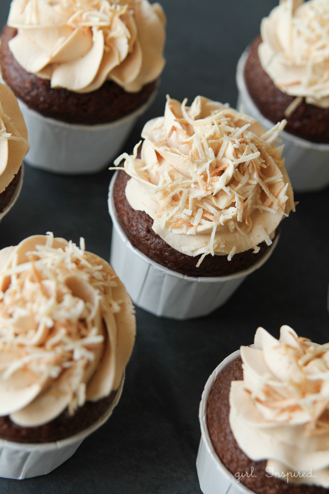 filled German Chocolate cupcakes with caramel buttercream - these are amazing.