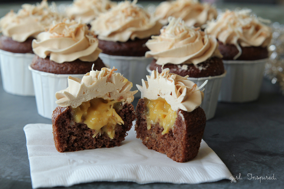 Filled German Chocolate Cupcakes with Caramel Buttercream - girl ...