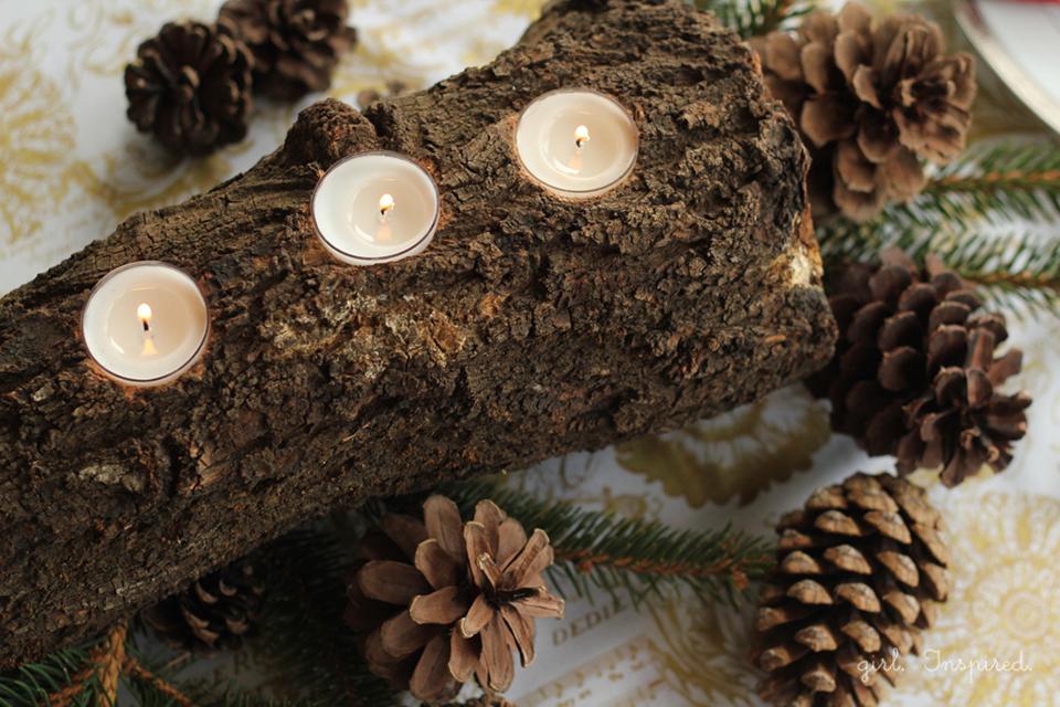 Tealight Log Centerpiece instructions