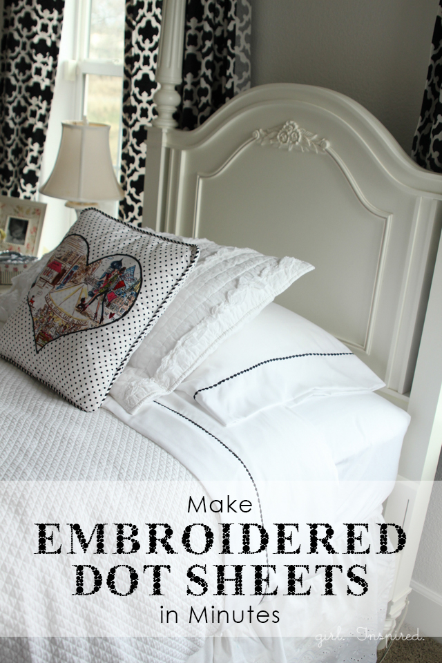 So easy to make your own Embroidered Pearl Dot Sheets.