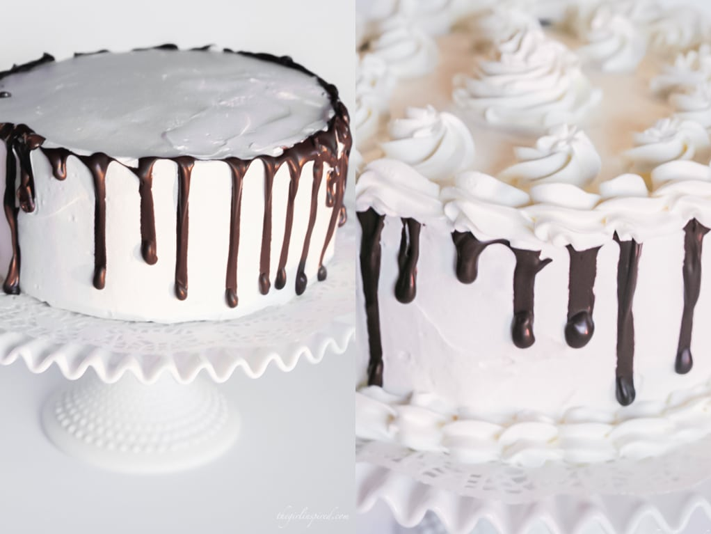 side by side collage of frosted cake with chocolate drizzle dripping down rim, piped frosting in swirls around the bottom and top