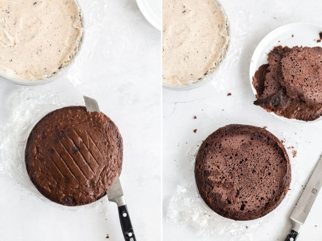 side by side overhead photos of chocolate cake layer with the top dome sliced off, knife, white plate, ice cream layer