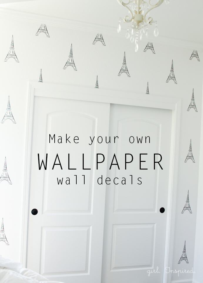 Wall Vinyl Design Your Own : Eiffel tower vinyl wallpaper girl inspired