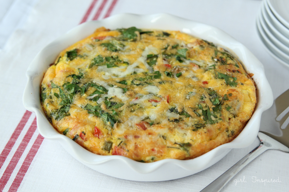 Cheesy Egg Bake serves 12 people - uses all your omelet favorites!