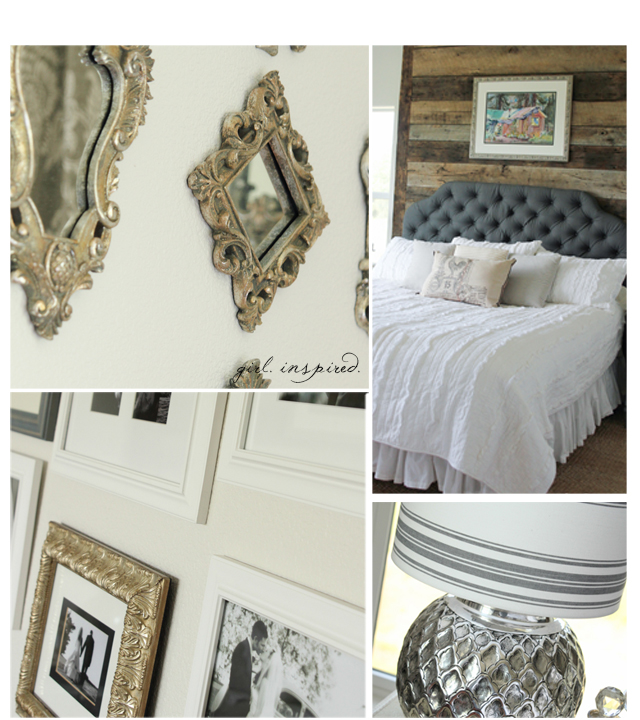 Master Bedroom Reveal with wood wall, specialty paint techniques, and upholstered headboard