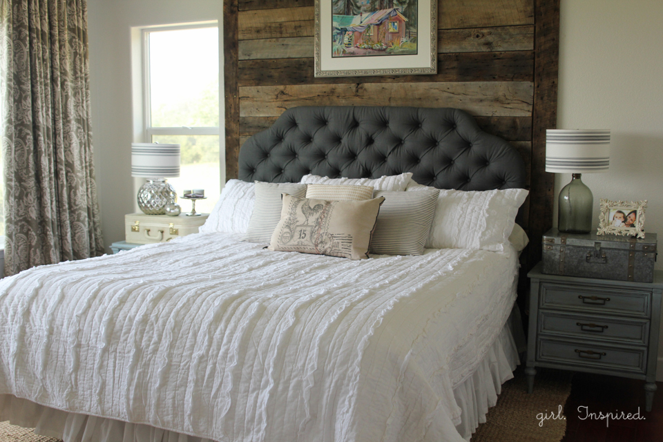 Master Bedroom Reveal With Wood Wall Specialty Paint Techniques And Upholstered Headboard