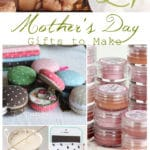 photo collage of various gifts for mom including a succulent, lip gloss, mini macaron purses, a canvas photo, and a candle