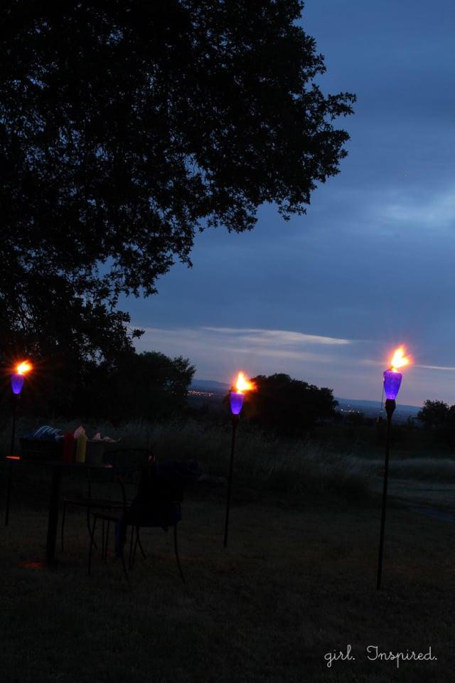 Tiki Torch glow at Outdoor Movie Night