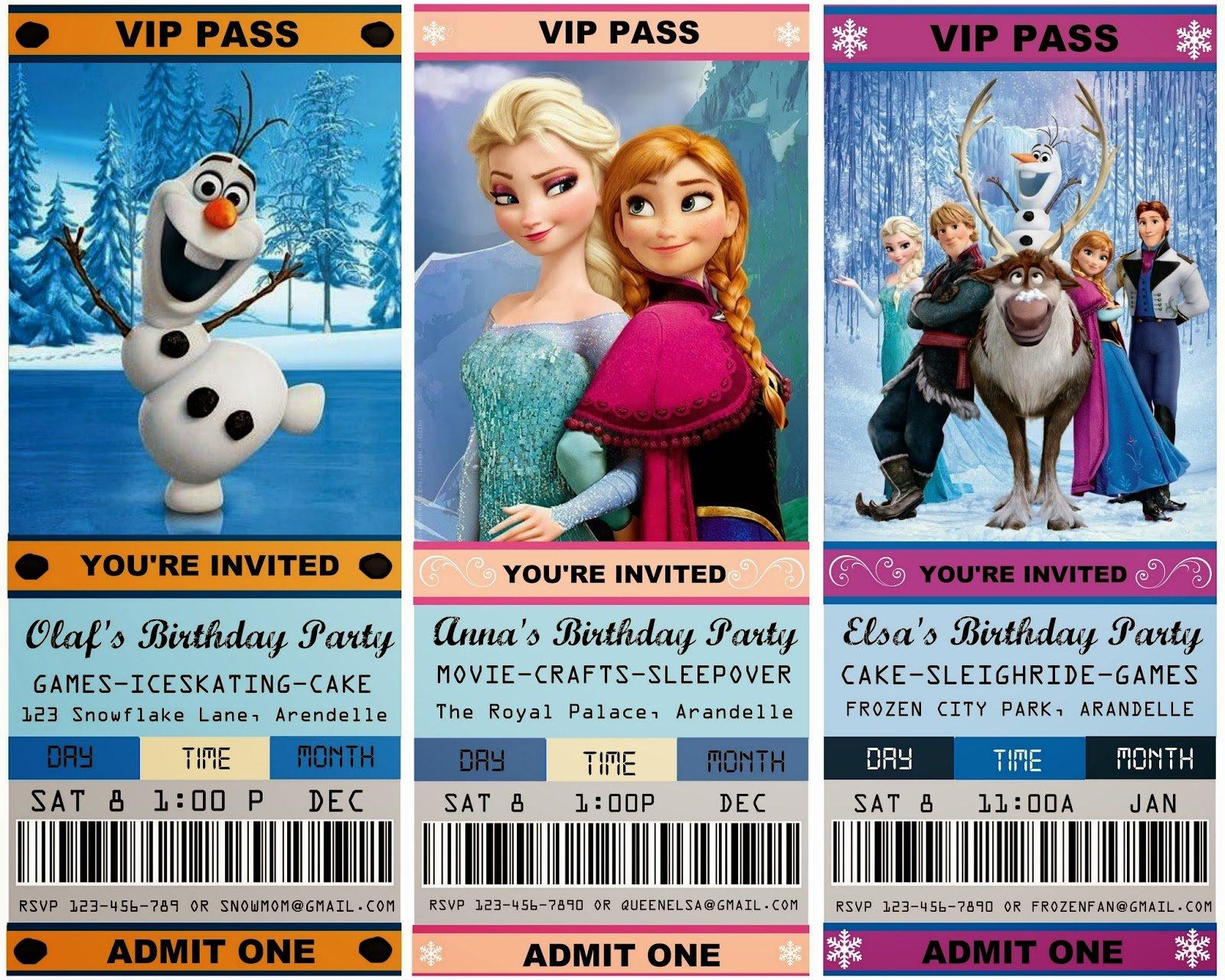 Frozen Free Party Invitation Template Olaf Elsa Anna Sven