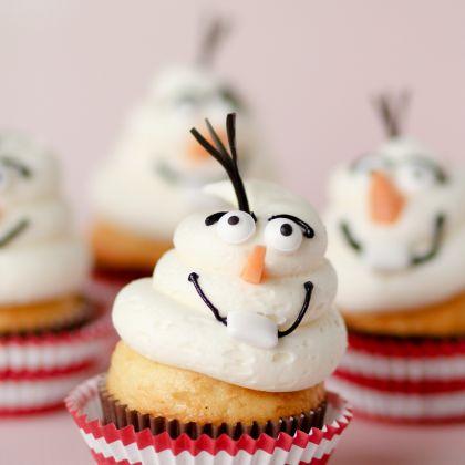 olaf fluff cupcake