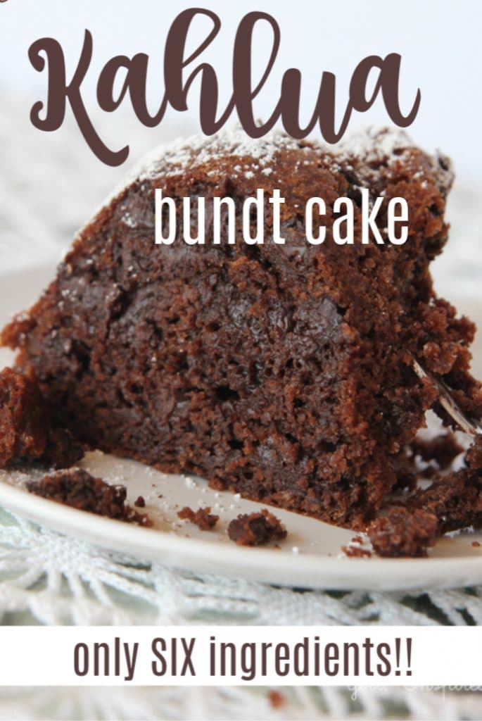 chocolate bundt cake slice on white dish with text overlay