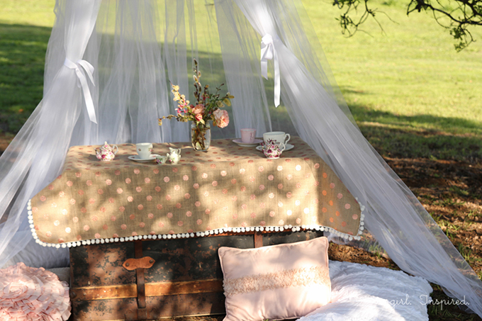 Hanging Tulle Tent - great for entertaining little guests or creating a fun focal spot in the yard