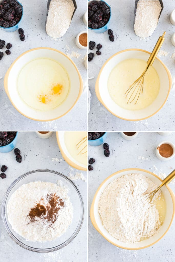 photo collage showing steps to mix blackberry muffins - overhead photos of bowl with milk and eggs, wet mixture, dry ingredeints, and dry ingredients dumped into wet ingredients