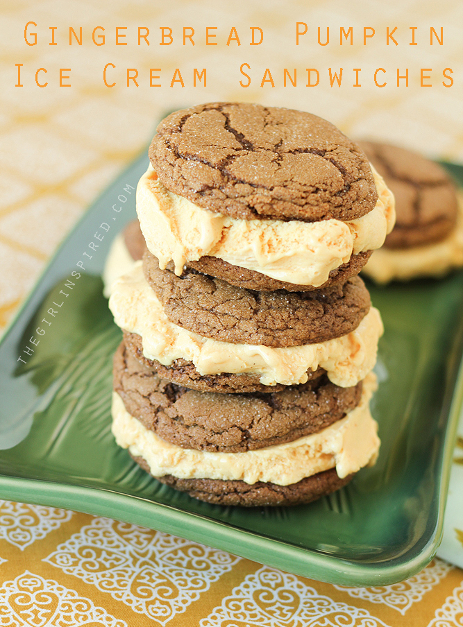 20 Pumpkin Dessert Recipes - Gingerbread Pumpkin Ice Cream Sandwiches