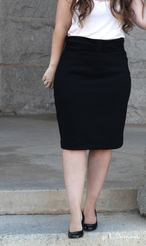 Pleated Pencil Skirt with Ruched Waistband - so simple to tweak this pencil skirt pattern!