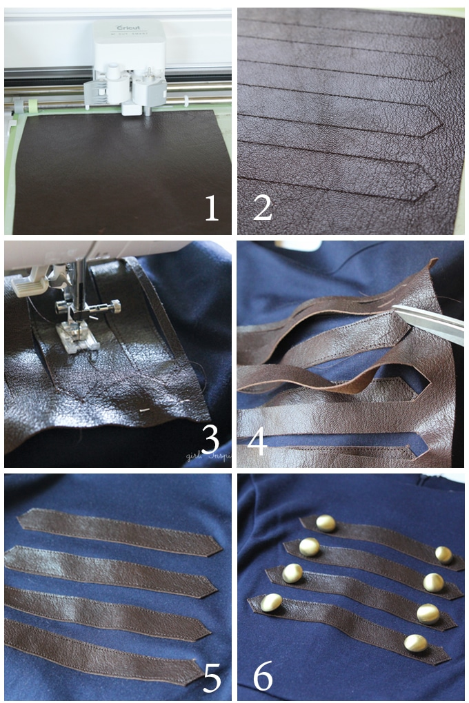 Step by Step Instructions - Embellish ready to wear garments with leather accents!