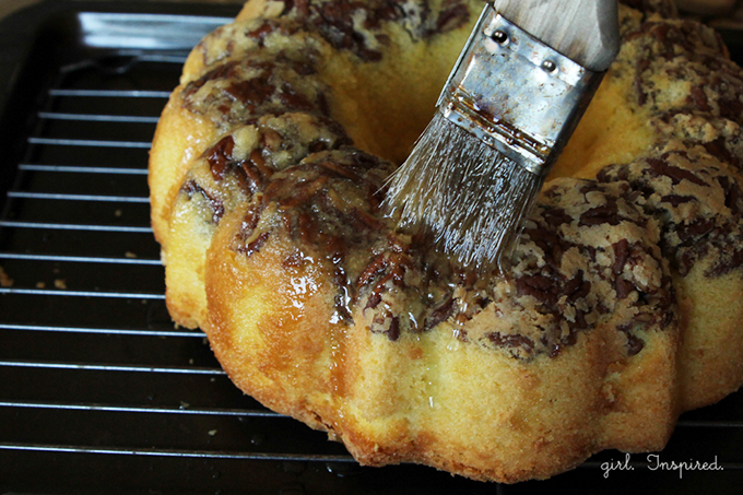 Glazed Pecan Rum Cake