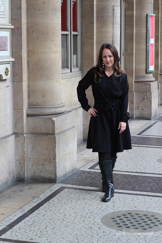 Marigold Dress Pattern Review - sewn in black peachskin, worn in Paris