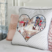 Learn simple applique techniques to make this cute heart pillow!