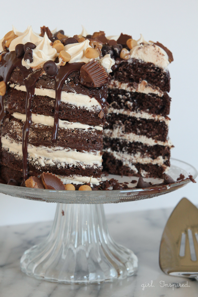Peanut Butter Chocolate Layer Cake - a peanut butter lover's dream cake! Layers of fluffy chocolate cake, creamy peanut butter buttercream, and rich chocolate ganache!
