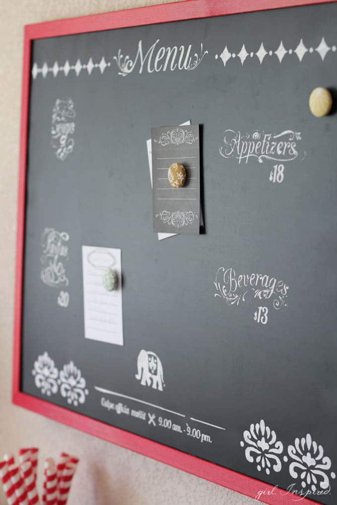 Playroom Kitchen with DIY Chalkboard Menu and Printable Note Cards