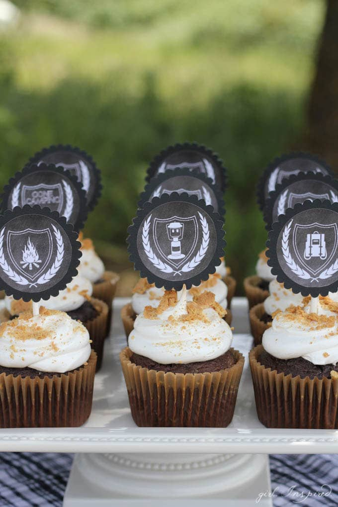 "S'Mores Party - ""s'mores"" cupcakes and printable cupcake toppers"