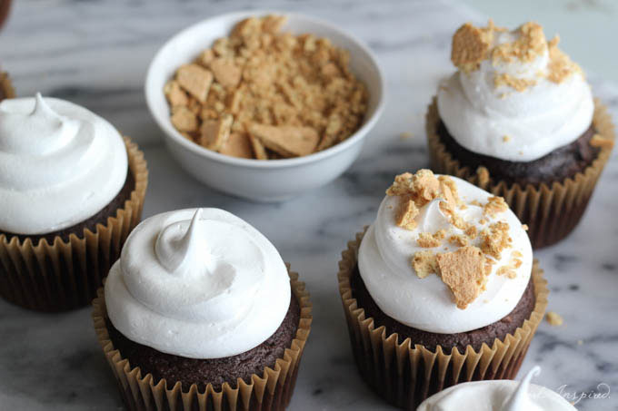 Use White Mountain Frosting to toast up some S'mores Cupcakes!