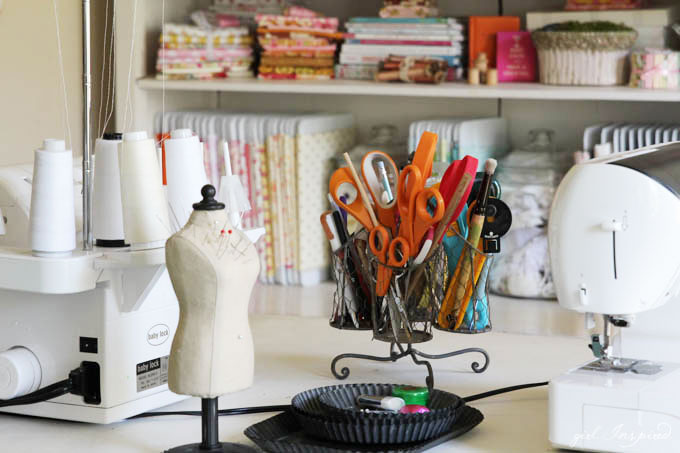 Sewing Room Tour - ideas for storing fabric, tools, a large workspace and desk - and lots of little decorative details!