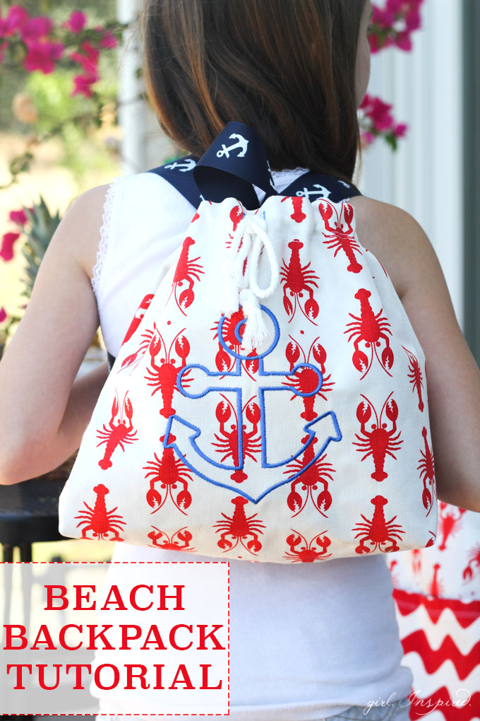 DIY Backpack Tutorial - what a fun project to make for little ones!  The perfect size to tote a snack and a book to the beach!