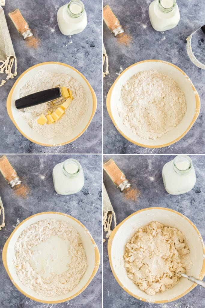 4 photo collage showing steps to cut butter into flour mixture, the course mixture, adding buttermilk, and the prepared dough for scones