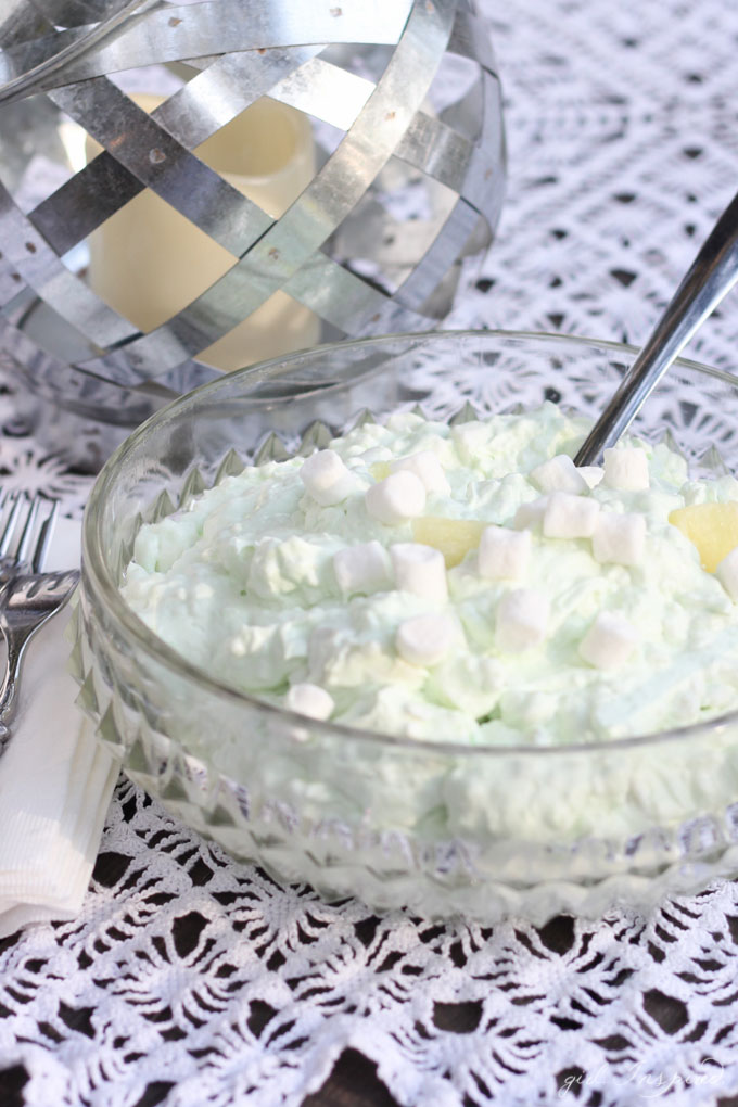 This Pistachio Pineapple Jello Salad will take you straight back to childhood potlucks and holidays with grandma!