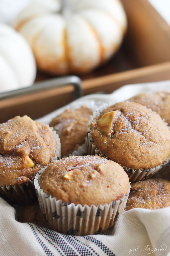 These Homemade Pumpkin Apple Muffins are moist, dense, and full of fall flavor! Nothing beats homemade from scratch!