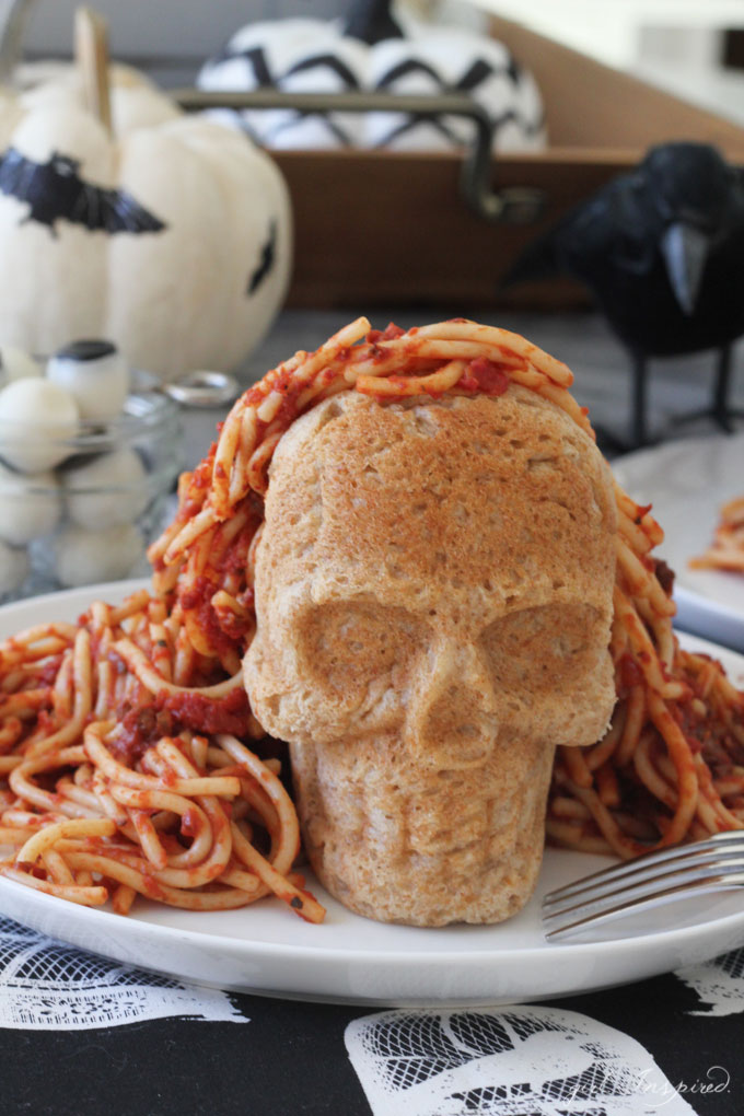 Homemade Spaghetti with a Skull Bun - Trick or Treat?