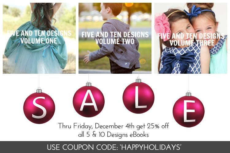 Coupon code 'HAPPYHOLIDAYS' for 25% off any pattern book - this is an amazing deal!!