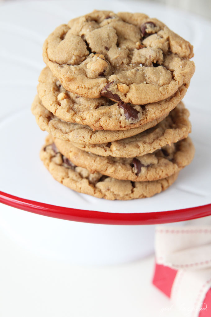 Peanut Butter Chocolate Chip Cookies - the BEST recipe for a buttery, chewy, brown sugar sweet cookie!