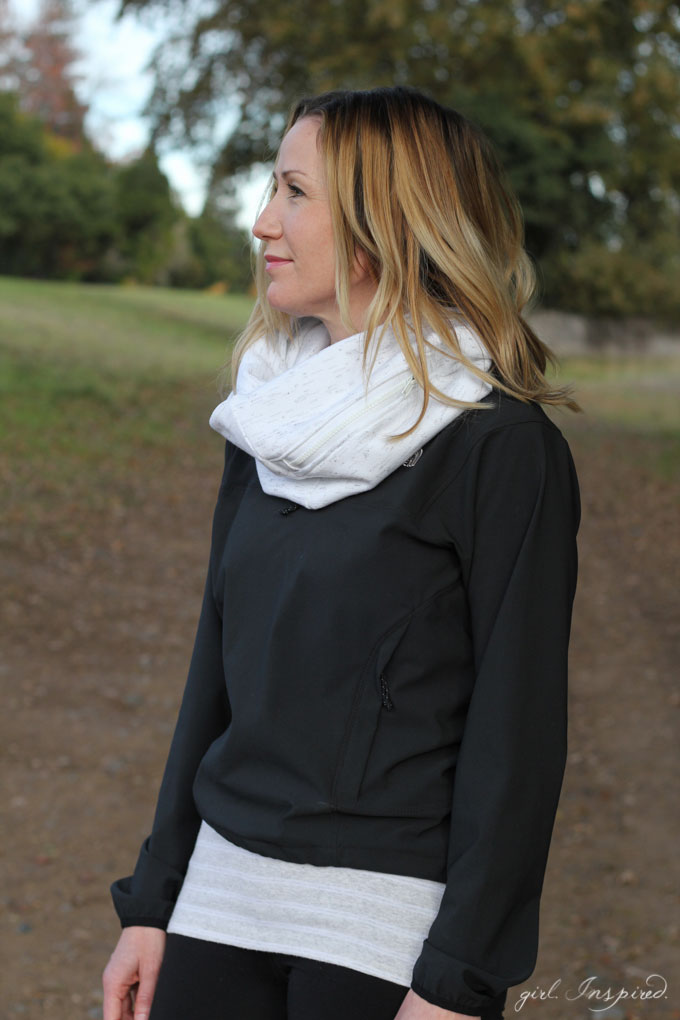 Zippered Pocket Scarf - Sew up this EASY scarf with a zippered pocket perfect for stashing your phone, ID, and house key! So great for walks, jogging, even a day trip where you want your hands free!