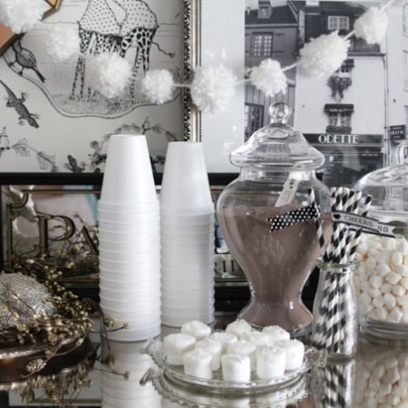 Use Pom Pom garland to decorate for a hot cocoa bar or party!