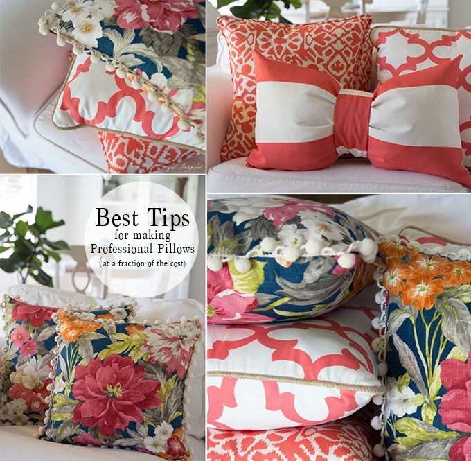 The BEST tips to make professional pillows for a fraction of the cost of buying them!