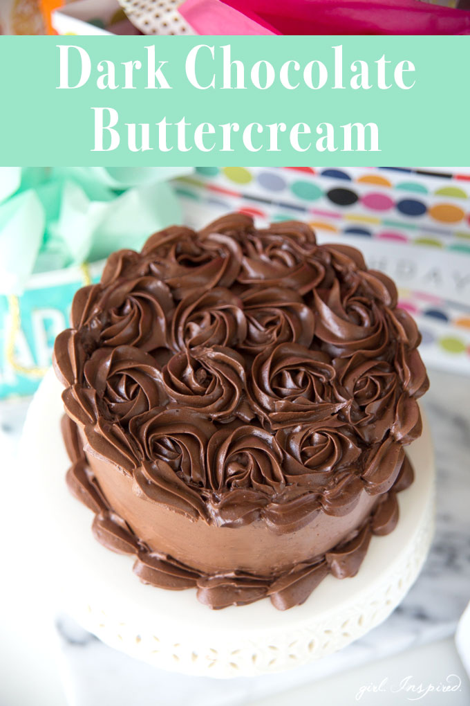 If you're looking for a rich, decadent DARK CHOCOLATE BUTTERCREAM, this is the frosting for you!