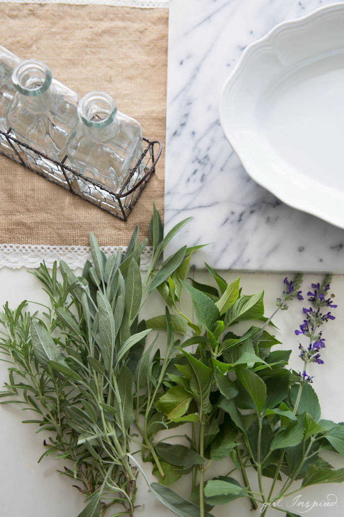 Herb garden overflowing? Bring some fragrance and greenery into your home with a quick herb botanical arrangement.